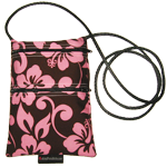Tall Dark Chocolate Brown with Pink Floral Purse